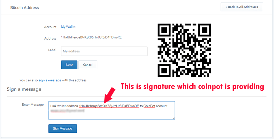 How do I sign a message with a bitcoin address1