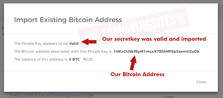 how to redeem paperwallet confirmation