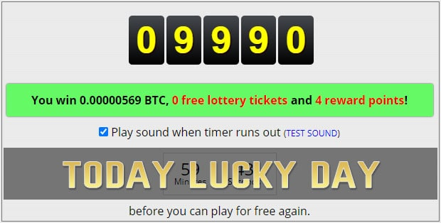 Another lucky number on freebitco.in