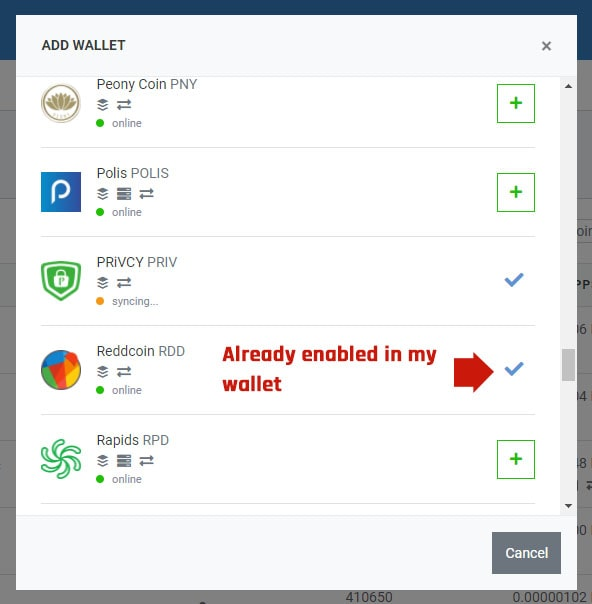 Stakecube wallet enable
