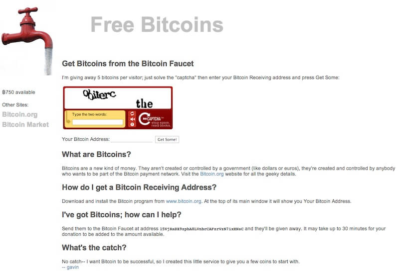 old bitcoin faucet paying 5 bitcoin for a single visit